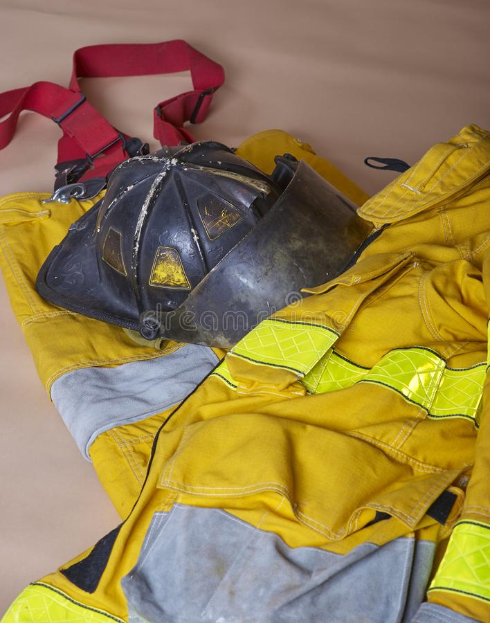 Firemen`s clothing & safety equipment royalty free stock photos