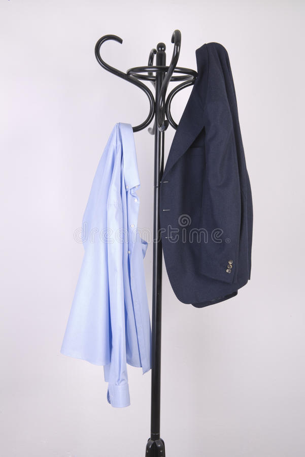 Jacket hung. A jacket hung in an coat hanger stock images