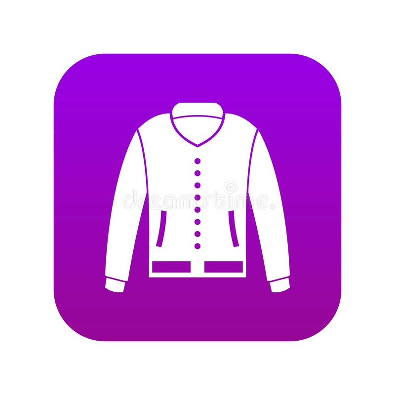 Jacket icon digital purple. For any design isolated on white vector illustration stock illustration