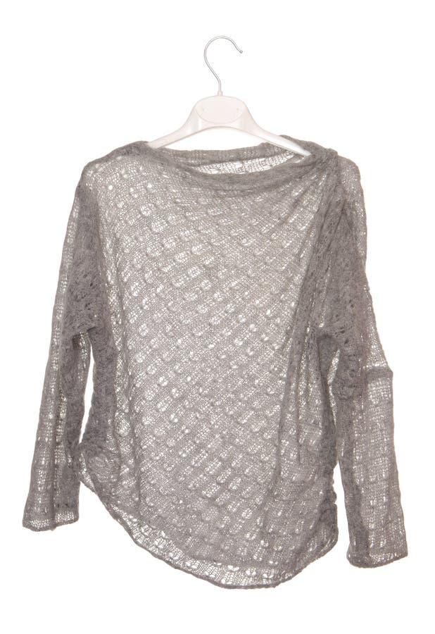 Jacket is on white, female grey sweater, asymmetrical jumper, i royalty free stock photo