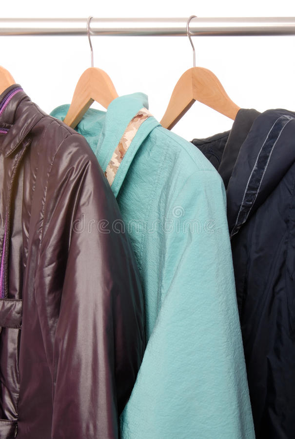 Jackets are on hangers stock photo
