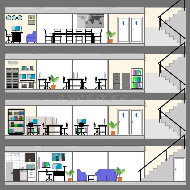 Jackettkontorsbyggnad med plan f?r inredesign stock illustrationer