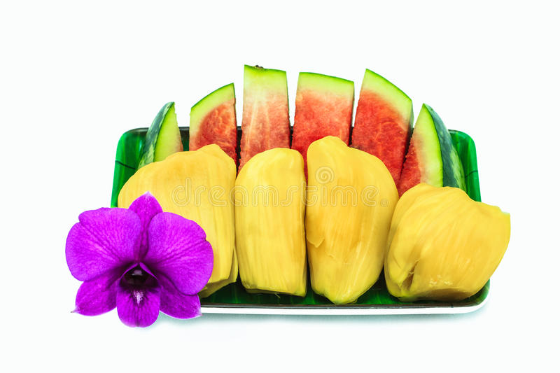 Jackfruit. And Watermelon, sweet fruit from tropical royalty free stock photo