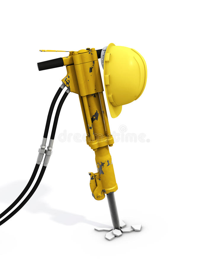 Jackhammer and Hardhat. Clipping path vector illustration