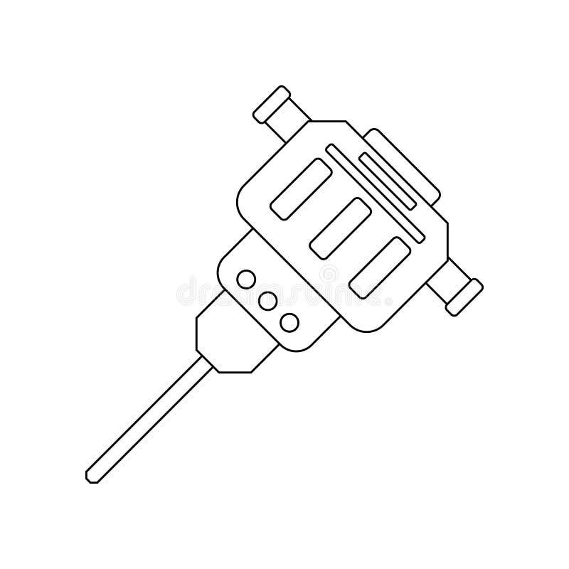 Jackhammerspictogram Element van bouwhulpmiddelen voor mobiel concept en webtoepassingenpictogram Overzicht, dun lijnpictogram vo vector illustratie