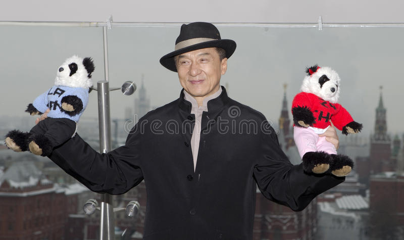 Jackie Chan. MOSCOW, RUSSIA - DECEMBER 6: Jackie Chan, actor, director, producer, poses for photographers at a hotel during a photocall for the new film Armour royalty free stock photography