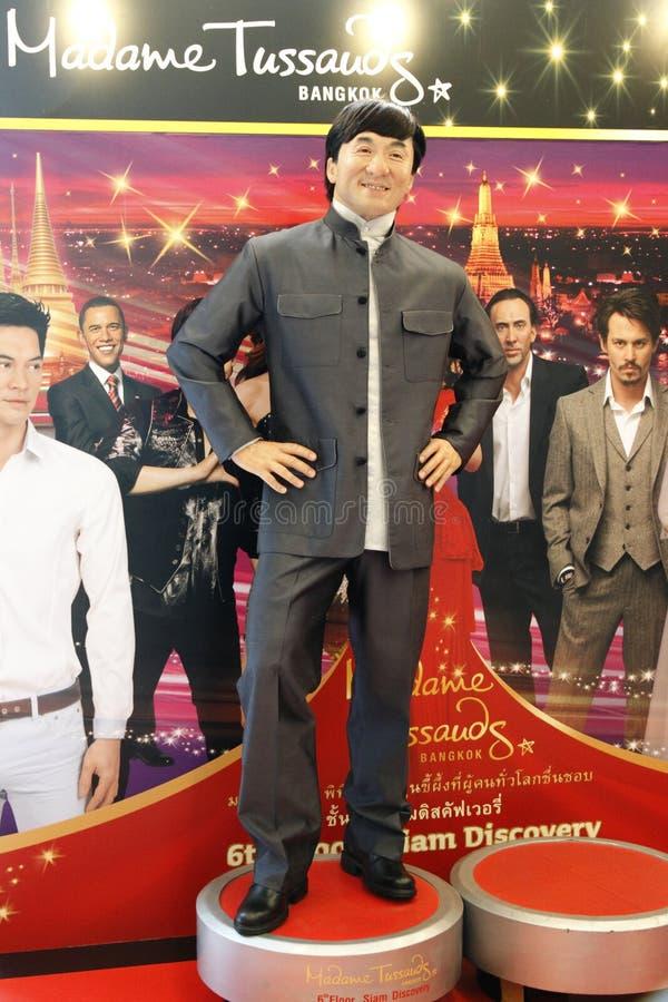 Jackie Chan bij Mevrouw Tussauds in Bangkok stock afbeeldingen