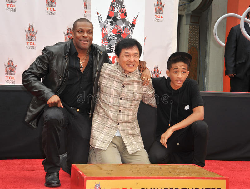 Jackie Chan & Chris Tucker & Jaden Smith foto de stock royalty free