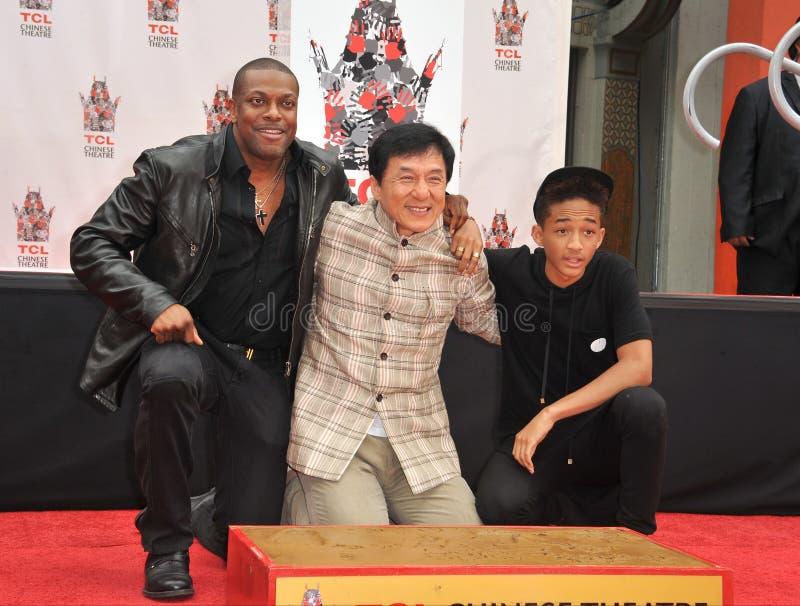 Jackie Chan et Chris Tucker et Jaden Smith photo libre de droits