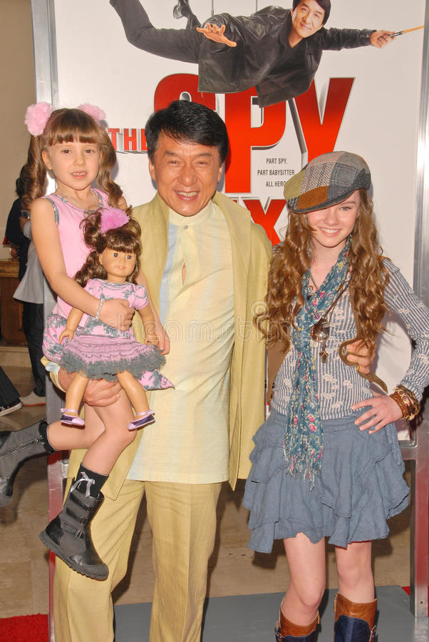 Jackie Chan, Madeline Carroll lizenzfreies stockbild