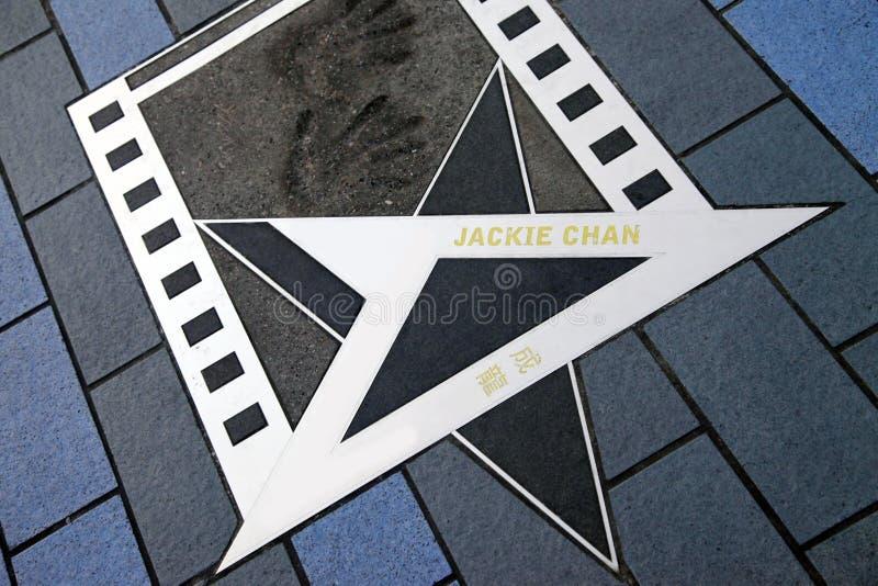 Jackie Chan-Stern an der Allee von Sternen stockfoto