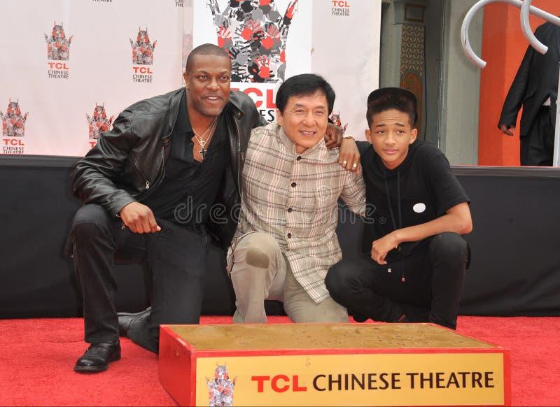 Jackie Chan u. Chris Tucker u. Jaden Smith lizenzfreie stockbilder