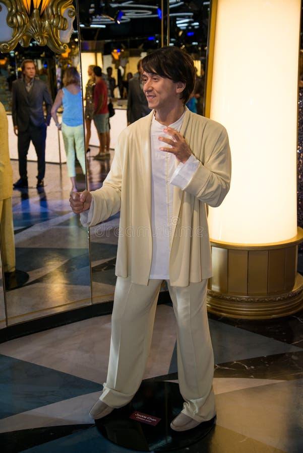Jackie Chan w Grevin muzeum wosk postacie w Praga zdjęcia royalty free