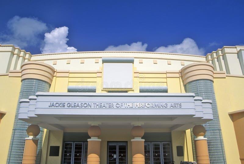 Jackie Gleason Theater des arts du spectacle dans le secteur d'art déco de la plage du sud, Miami Beach, la Floride photographie stock libre de droits