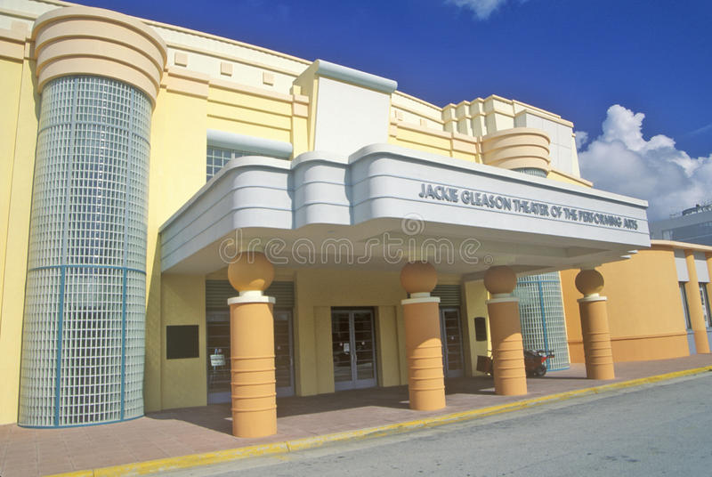 Jackie Gleason Theater of the Performing Arts in the Art-Deco District of south beach, Miami Beach, Florida stock photography