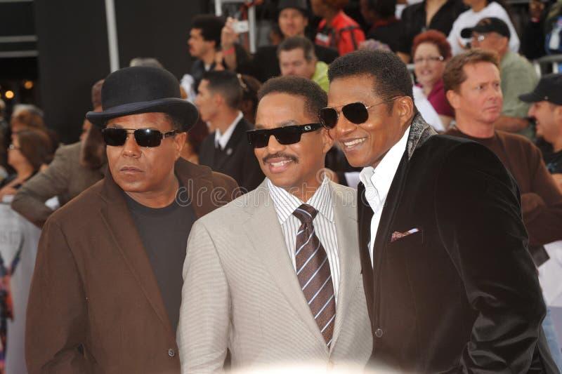 Jackie Jackson, Marlon Jackson, Tito Jackson, Michael Jackson, Jacksons stock foto's