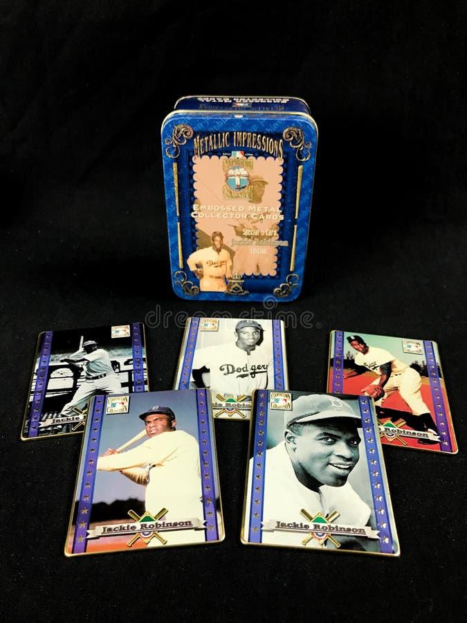 Jackie Robinson Tribute Metallic Impressions Metal Baseball Cards Tin stock photos