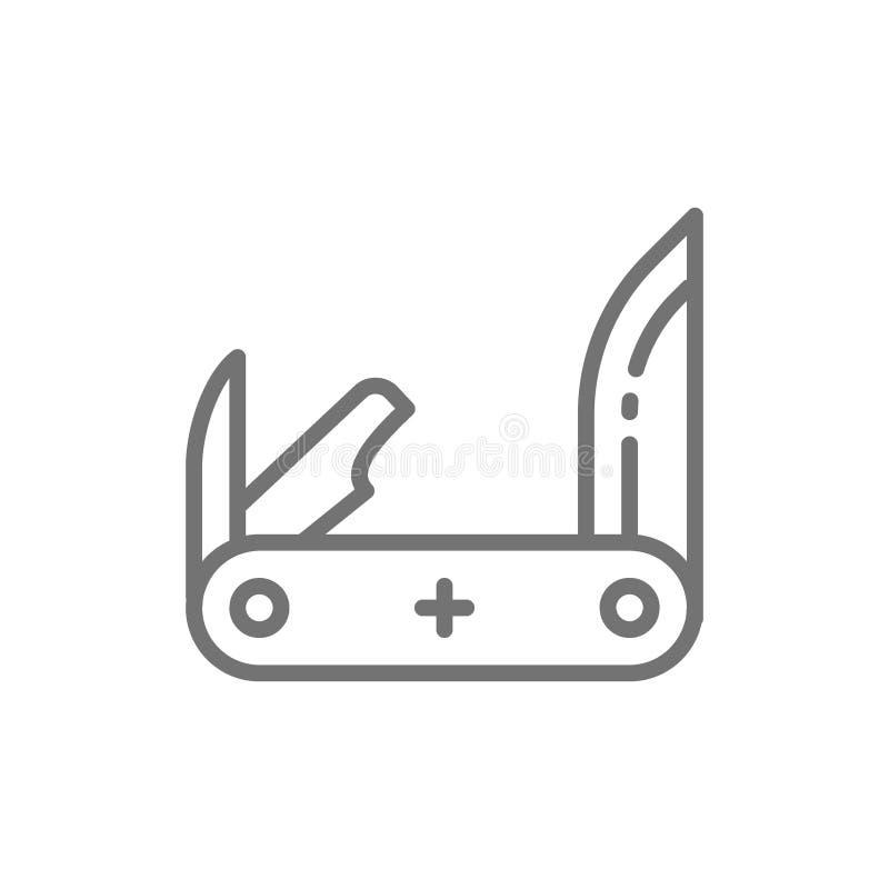 Jackknife, pocket knife, multitools line icon. stock illustration