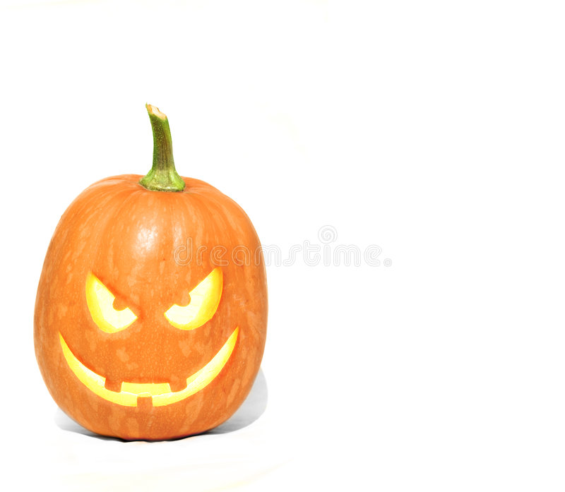 JackOLantern Pumpkin isolated. An isolated clean perfect Jack O Lantern pumpkin on white royalty free stock photography