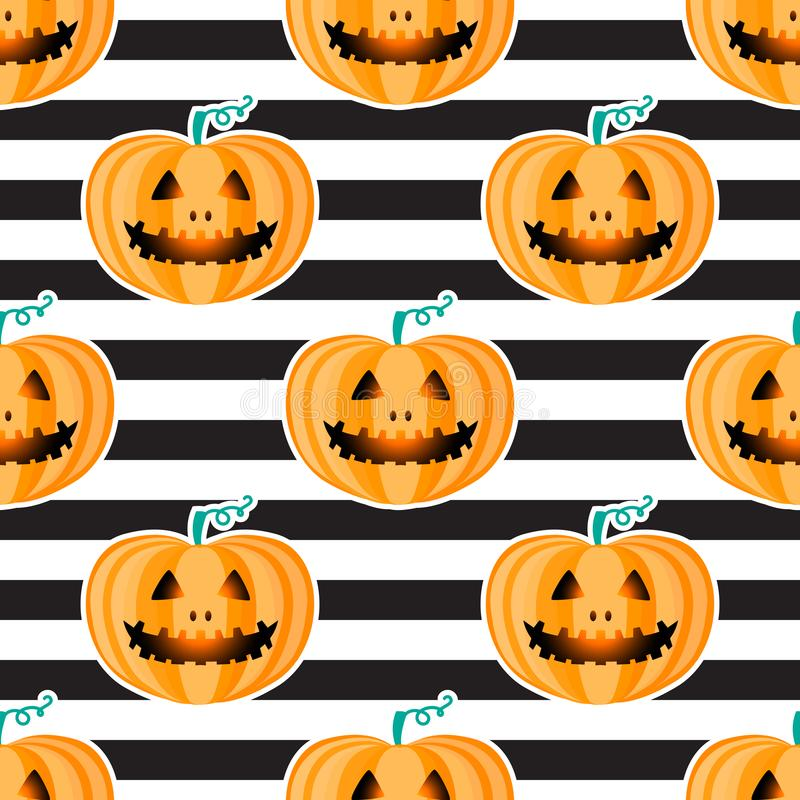 Jackolantern seamless pattern on black and white striped background. Vector Halloween orange pumpkin with face royalty free illustration