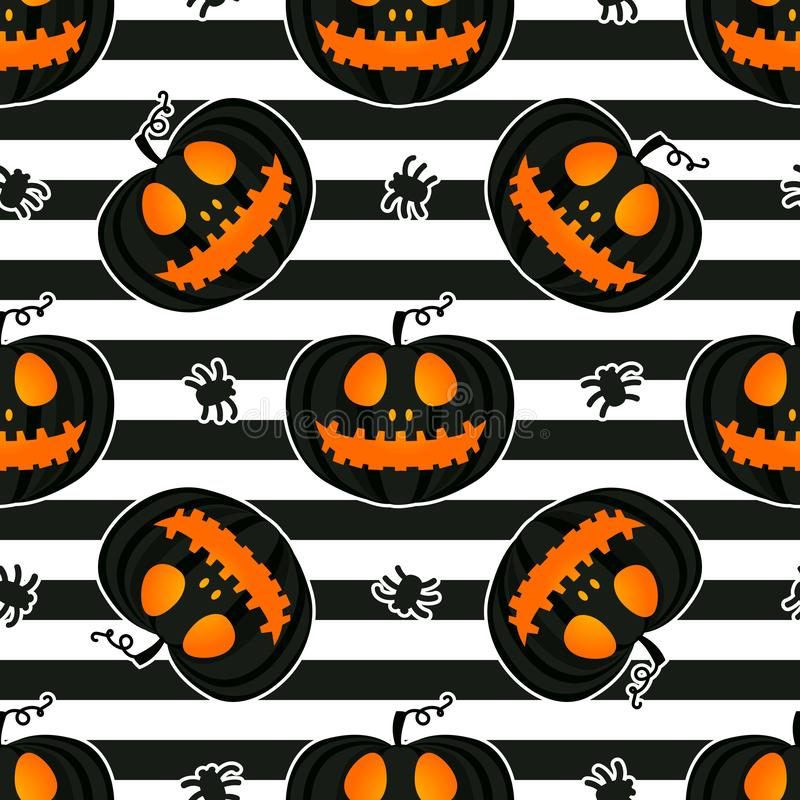 Free Jackolantern Seamless Pattern On Striped Background. Vector Halloween Pumpkin With Face Illustration Stock Images - 156022434