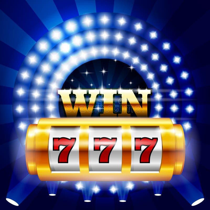 Jackpot - 777 auf Kasinospielautomaten, großem Gewinn und dem Spielen lizenzfreie abbildung