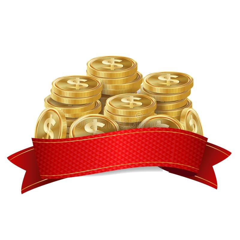 Jackpot Background Vector. Golden Casino Treasure. Big Win Banner For Online Casino Jackpot Prize Design. Coins stock illustration