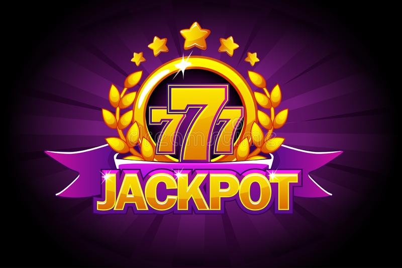 Jackpot banner with purple ribbon, 777 icons and text. Vector illustration for casino, slots, roulette and game UI. Big Win banner purple ribbon, 777 icons and royalty free illustration