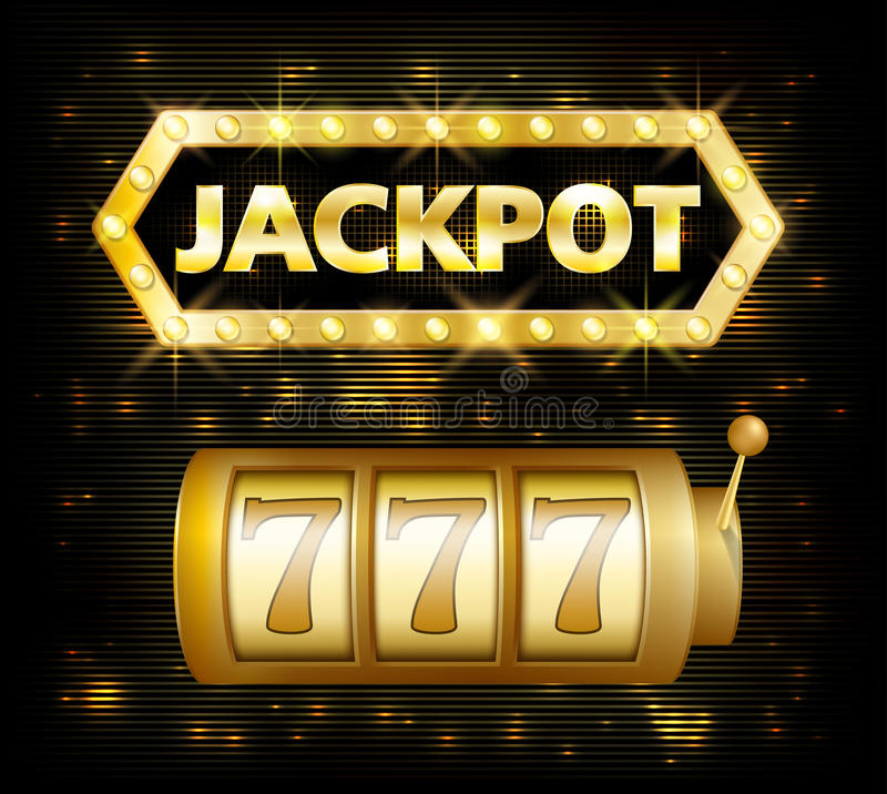 Jackpot casino lotto label background sign. Casino jackpot 777 gamble winner with text shining symbol on white vector illustration
