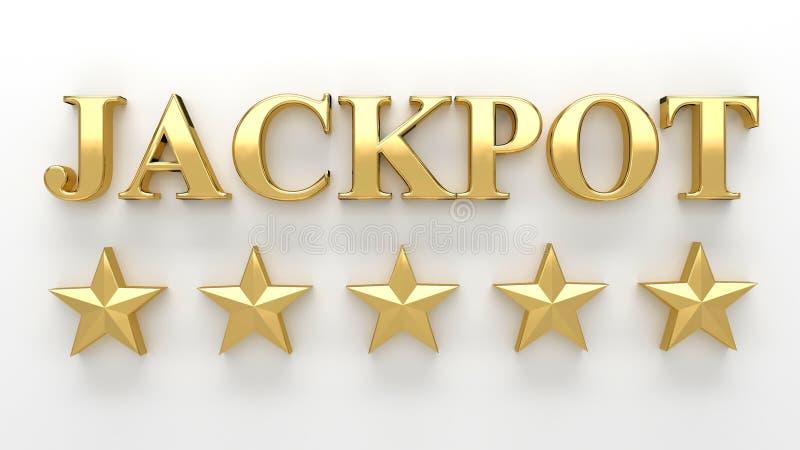 Jackpot com as estrelas no fundo branco - 3D de alta qualidade rendem ilustração stock