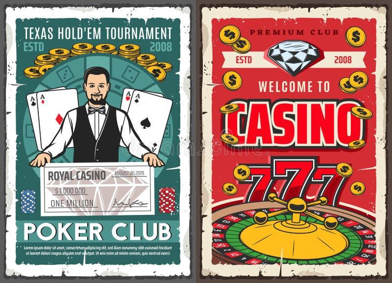 Jackpot do pôquer do casino, crouoier e cartões de jogo ilustração do vetor
