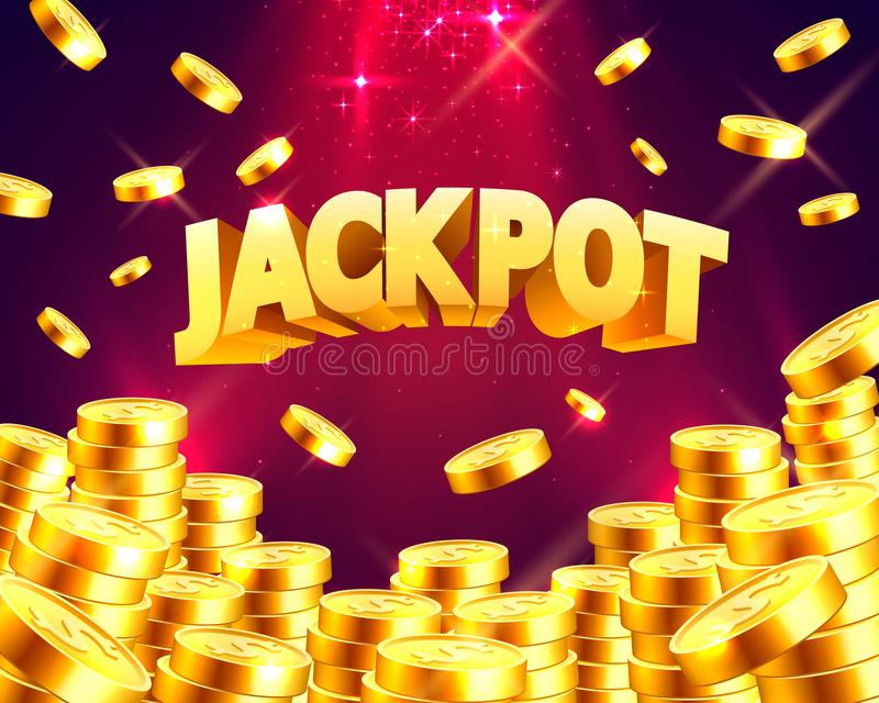 Jackpot in the form of gold coins. stock illustration