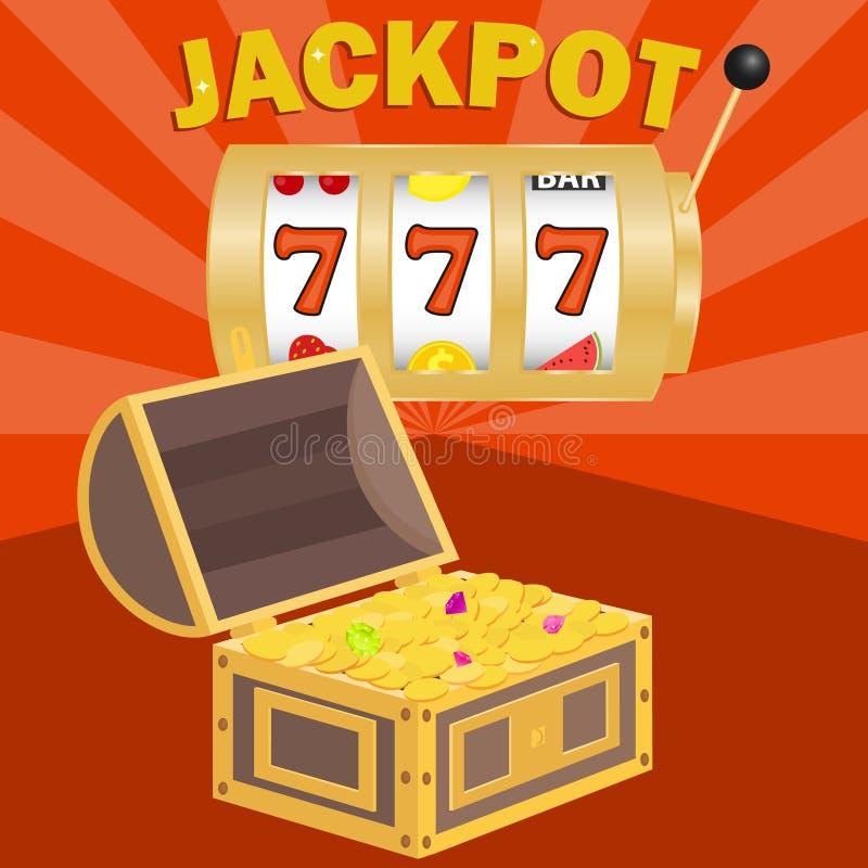 Jackpot, gewinnen den Jackpot Kasten mit den Goldmünzen, zum im Jackpot zu gewinnen stock abbildung