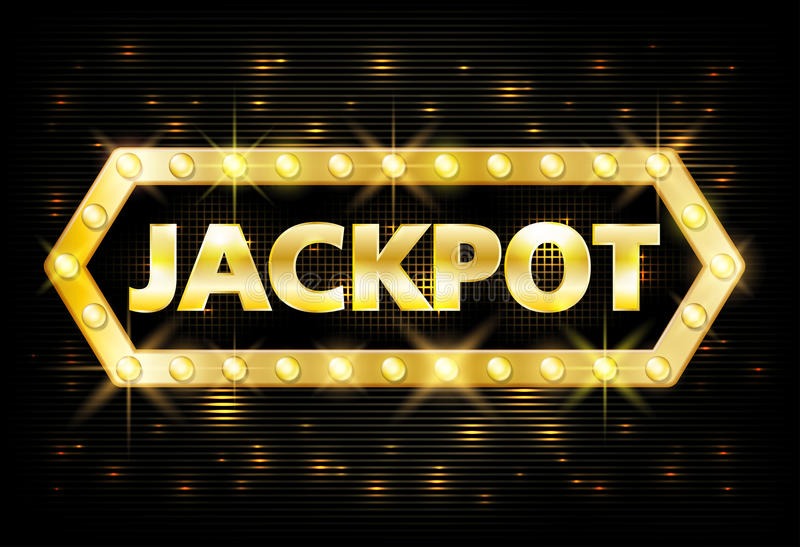 Jackpot gold casino lotto label with glowing lamps on black background. Casino jackpot winner design gamble with shining vector illustration