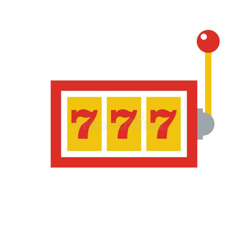 777 jackpot icon - casino gambling - machine slot - flat vector illustration isolated on white background. royalty free illustration