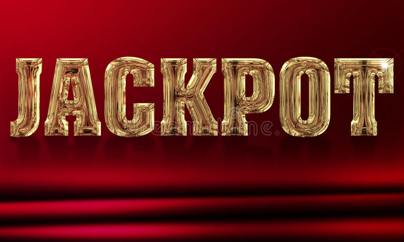 Jackpot. Illustration of the word jackpot on a red background stock illustration