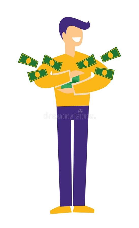 Jackpot and lottery, man holding money or dollar bills vector illustration