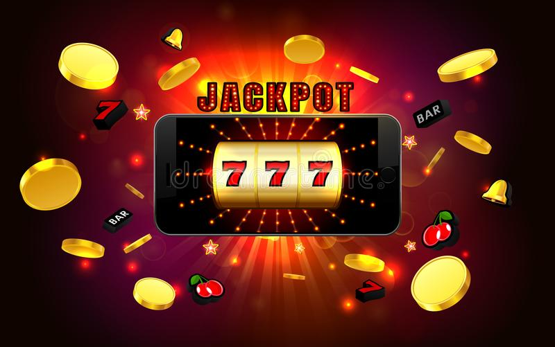 Jackpot lucky wins golden slot machine casino on mobile phone. With light background vector illustration vector illustration