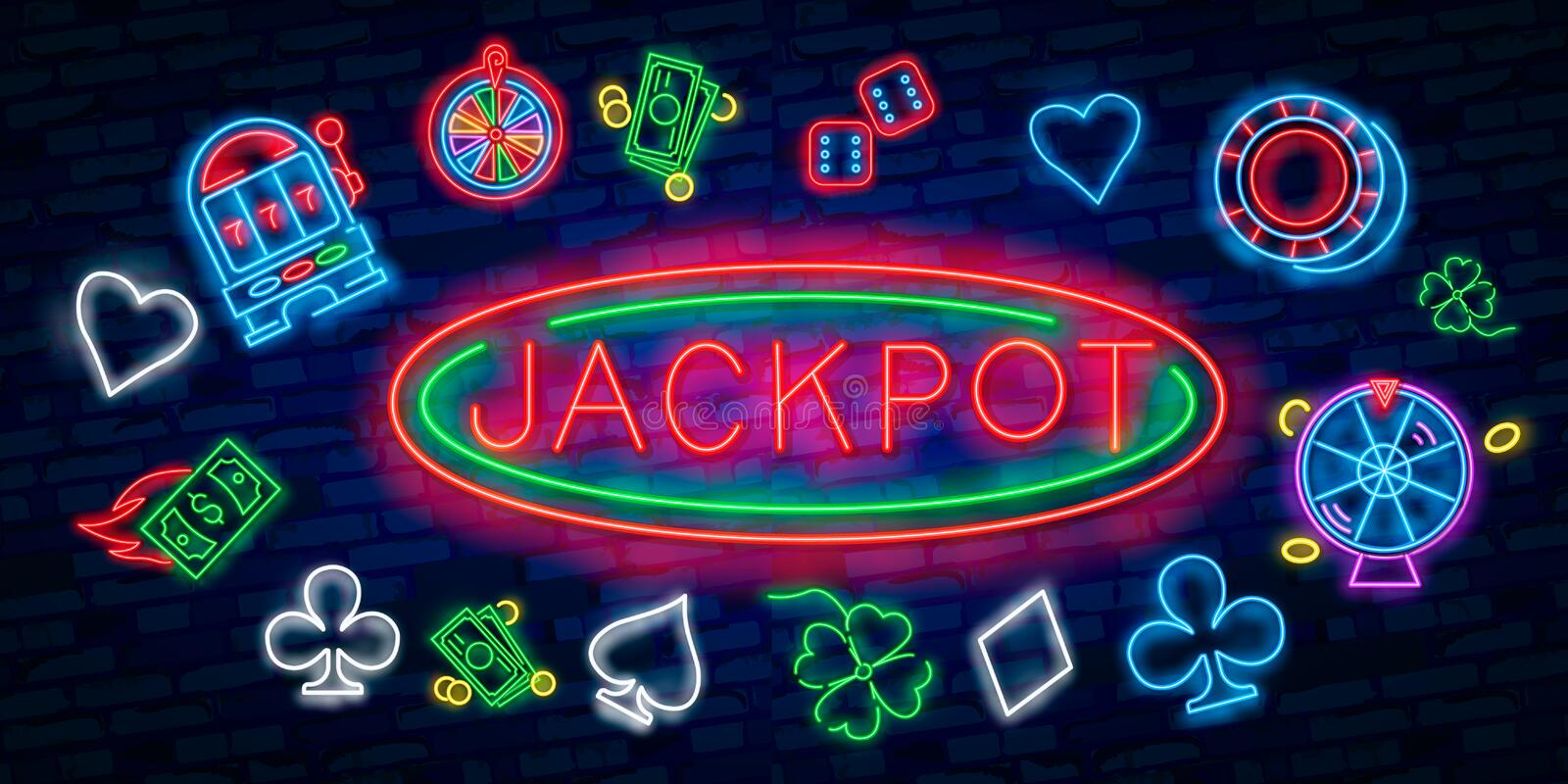 Jackpot neon sign. Slot machine shape with chips or coins on brick wall background. Night bright advertisement. Vector royalty free illustration