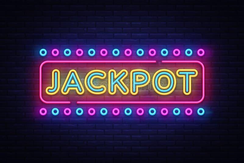 Jackpot neon sign vector. Casino Design template neon sign, light banner, neon signboard, nightly bright advertising stock illustration