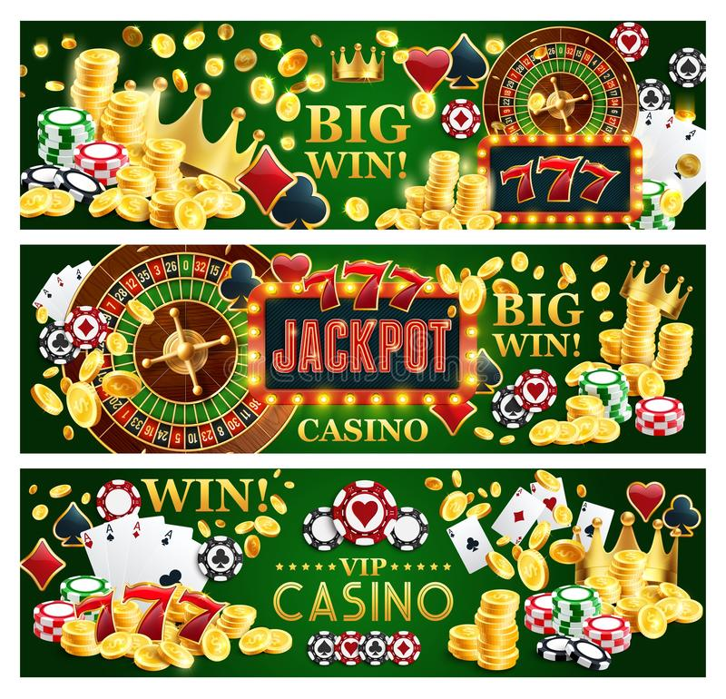 Jackpot online casino banners with gambling items. Online casino jackpot gamble game banners, Internet gambling. Vector of poker playing cards, money golden stock illustration