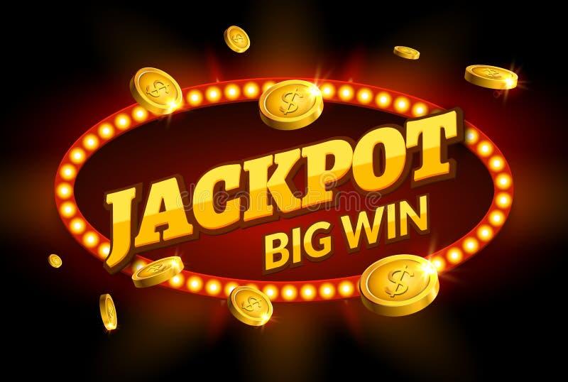 Jackpot que joga a decoração retro do sinal da bandeira Quadro de avisos grande da vitória para o casino Molde afortunado do símb ilustração stock