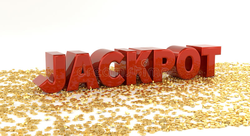 Jackpot - Red text on gold stars - High quality 3D Render. Winner vector illustration