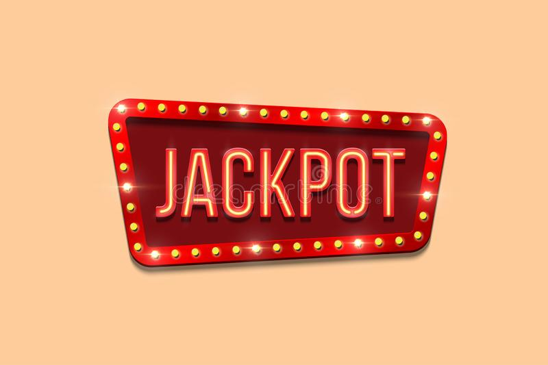 Jackpot sign template. Vector neon Jackpot word on bulb frame. vector illustration