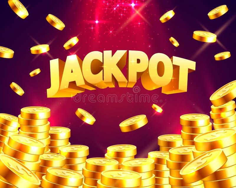 Jackpot sob a forma das moedas de ouro ilustração stock