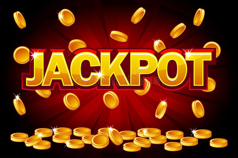 Jackpot und Fallen von den obersten goldenen Münzen Vektor-Münzenspritzen, Regengeld Vektorillustration für Kasino, Schlitze stock abbildung