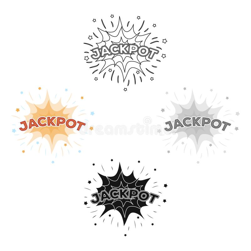 Jackpot, winnings at the casino. The greatest win in the game club.Kasino single icon in cartoon,black style vector. Symbol stock web illustration stock illustration