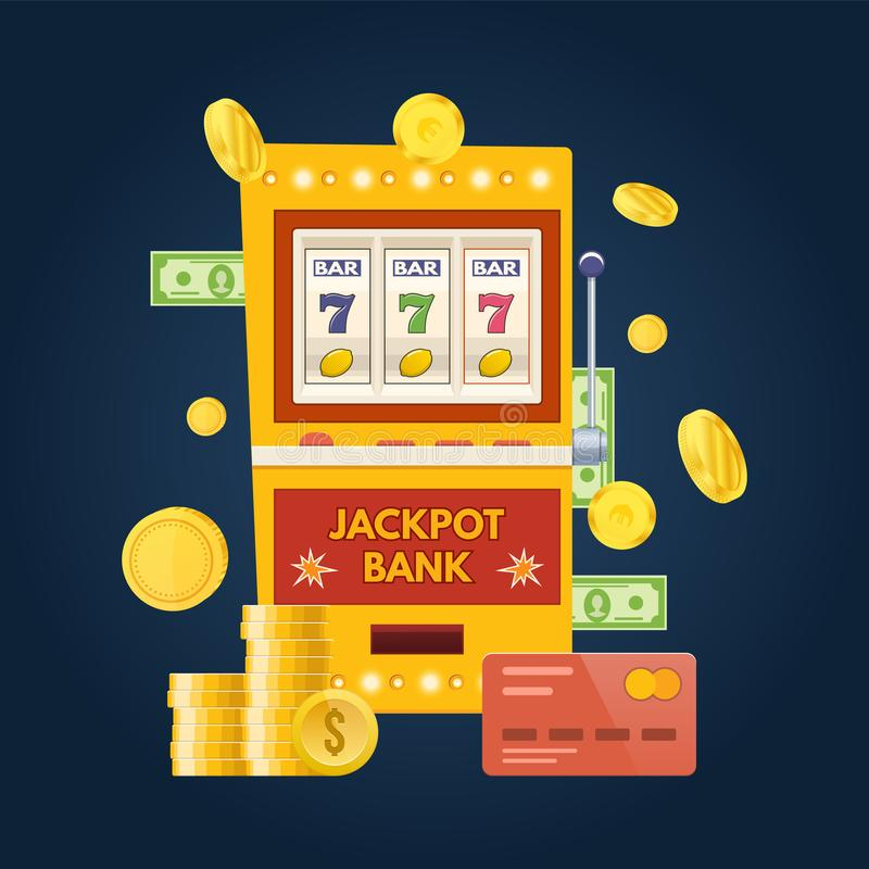 Jackpotbankspielautomat Ein spielendes Gerät des Armes Glücklich, Erfolg stock abbildung