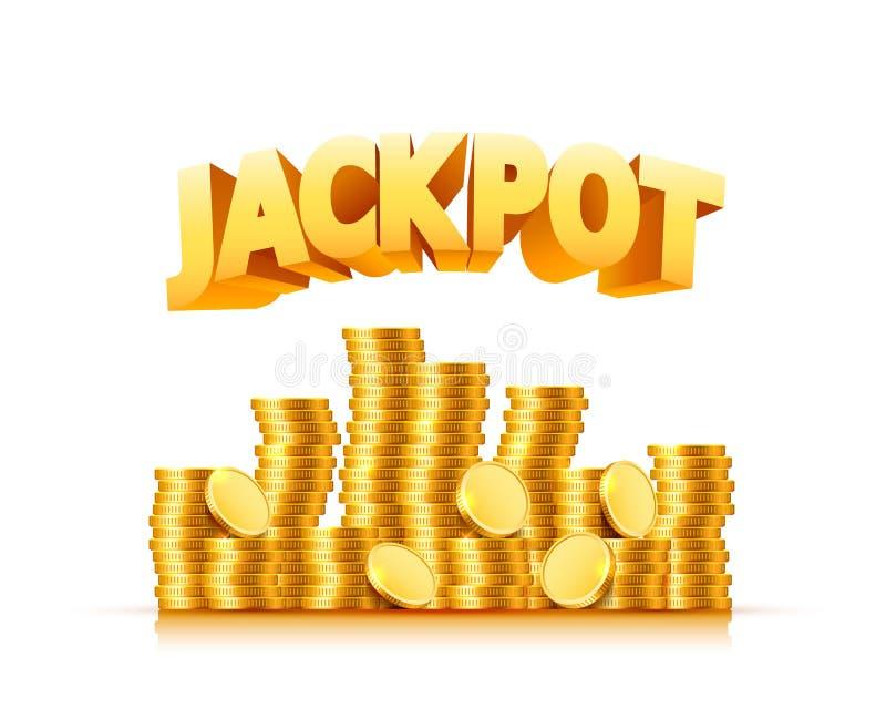 Jackpott i form av guld- mynt vektor illustrationer