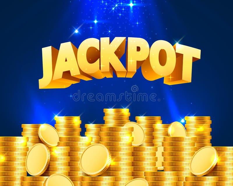 Jackpott i form av guld- mynt stock illustrationer